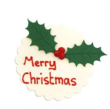 Holly Merry Christmas Plaque Sugar Decorations